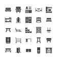 furniture flat glyph icons living room tv vector image