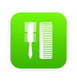 hair comb icon green vector image vector image