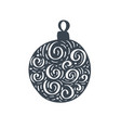 handdraw scandinavian christmas ball with ornament vector image vector image
