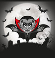 happy halloween vampire with big sign in the vector image vector image