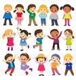 happy kids cartoon collection vector image