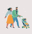 happy parents walking with their little child vector image