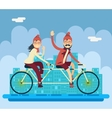 Hipster Male Female Characters Riding Companion vector image vector image