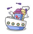 juggling ship mascot cartoon style vector image vector image