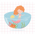 mermaid aquarium cartoon under sea vector image