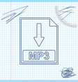 mp3 file document icon download mp3 button line vector image vector image