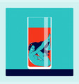 naked woman in glass of drink temptation concept vector image