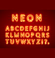 neon font text lamp sign alphabet vector image vector image