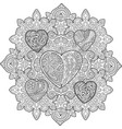 pattern with hearts for coloring book page vector image
