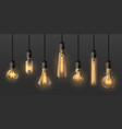 realistic edison light bulbs 3d retro hanging vector image