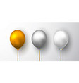 realistic white gold and gray balloon on white vector image vector image