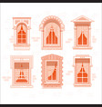 retro or vintage window frames with curtain vector image