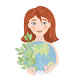 save planet earth holiday party girl illust vector image