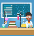 school boy with chemistry equipment vector image vector image