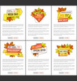 set of mega sale autumn fall price off coupons vector image vector image