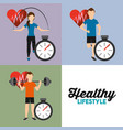 set people sport athletic heart rate and vector image vector image