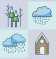 set winter season natural weather vector image vector image