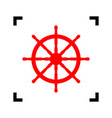 ship wheel sign red icon inside black vector image vector image