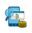 smartphone with bitcoin currency and digital icons vector image vector image