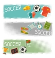 Sports horizontal banners with soccer football vector image vector image
