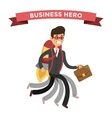 Superhero business man in action vector image