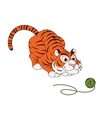 Tiger play with ball of thread vector image