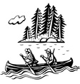 Two persons in the boat vector image