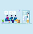 veterinary clinic concept veterinarian opens the vector image vector image