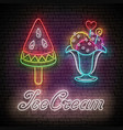 vintage poster with ice cream balls in vase and vector image vector image