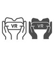 vr glasses in hands line and glyph icon gaming vector image vector image