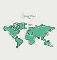 world map pixel in green color silhouette vector image