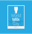 world milk day icon vector image