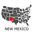 state of new mexico on map of usa vector image