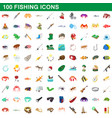 100 fishing icons set cartoon style vector image vector image