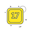 17 date calender icon design vector image