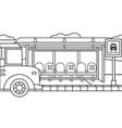 background school bus stop and school bus in vector image