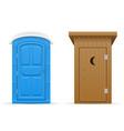 bio and wooden outdoor toilet vector image