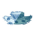 blue shading silhouette of old straw hat vector image vector image