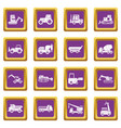 building vehicles icons set purple vector image vector image