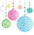 christmas ornament balls on white background vector image vector image