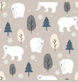 christmas seamless pattern with polar bear vector image vector image