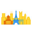 colored cityscape of paris vector image vector image