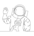 continuous single drawn one line astronaut concept vector image vector image