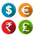 Currency flat icons set vector image vector image
