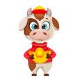 cute bull cartoon character chinese new year 2021