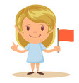 cute elementary school girl student holding red vector image vector image
