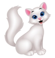 Cute white cat cartoon vector image