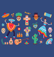 day dead elements skeleton characters vector image