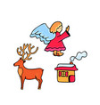 deer angel gingerbread house doodle icons for vector image vector image