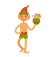 elf in hat and swim trunks holds coconut cocktail vector image vector image